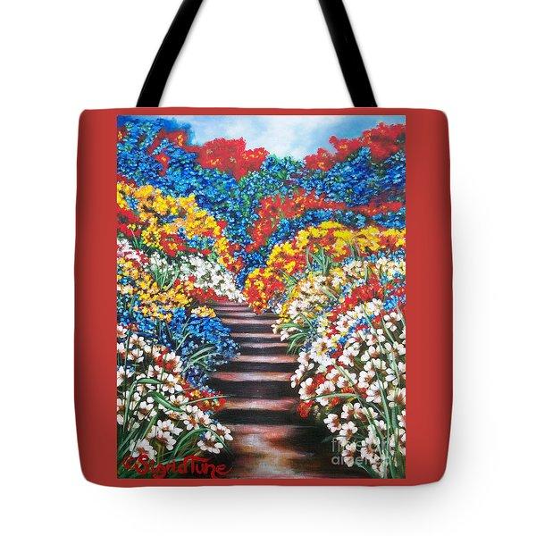 Flying Lamb Productions        Blue Garden Cascade Tote Bag