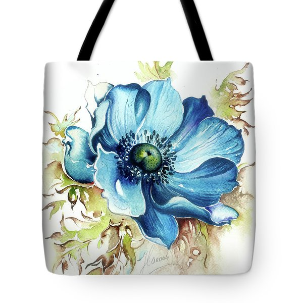 Tote Bag featuring the painting Blue Gem by Anna Ewa Miarczynska