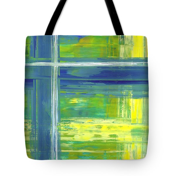 Blue Geometric Yellow Tote Bag