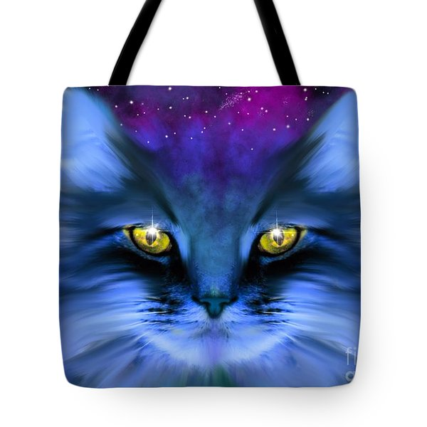 Blue Ghost Cat Tote Bag