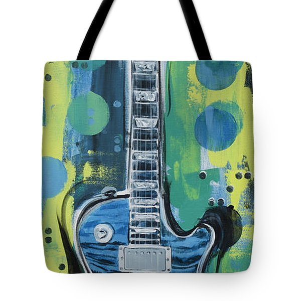 Blue Gibson Guitar Tote Bag