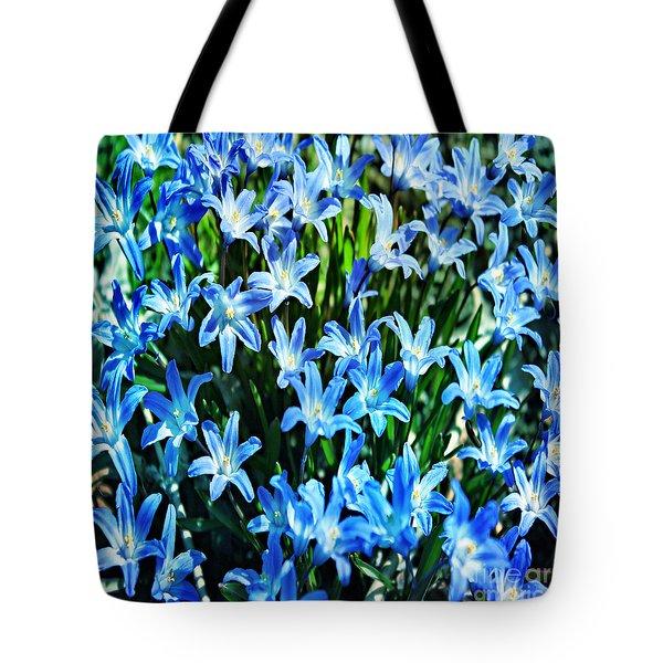 Blue Glory Snow Flowers  Tote Bag