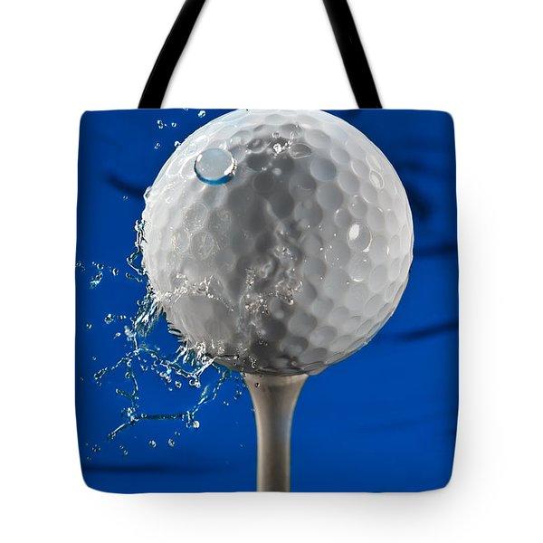 Blue Golf Ball Splash Tote Bag by Steve Gadomski