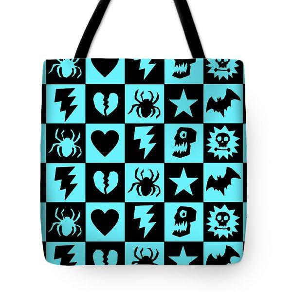 Blue Goth Punk Checkers Tote Bag