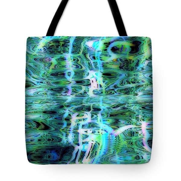 Blue Green Abstract 091015 Tote Bag by Matt Lindley