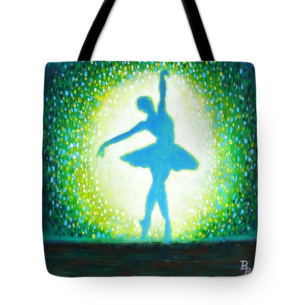 Tote Bag featuring the painting Blue-green Ballerina by Bob Baker