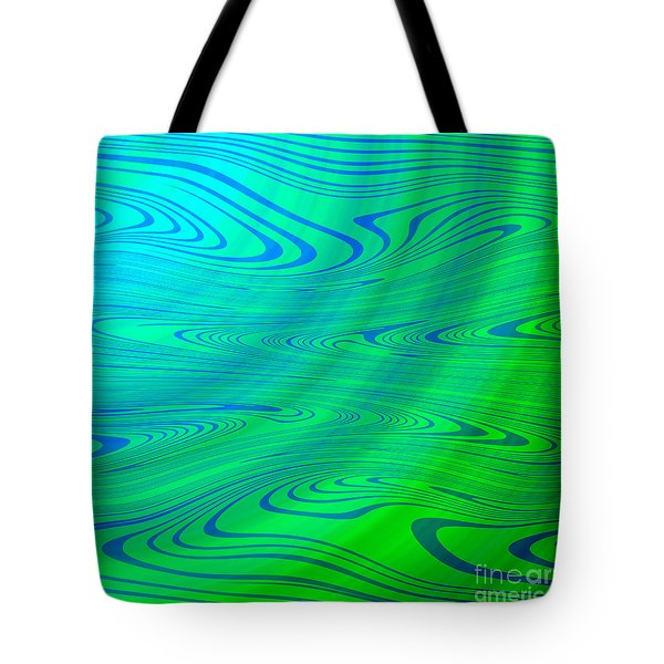 Blue Green Distort Abstract Tote Bag