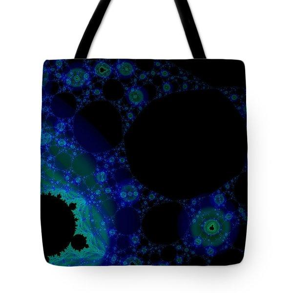 Blue Green Galaxy Fractal Tote Bag