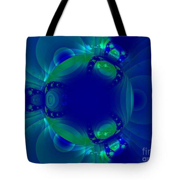 Blue Green Globe Luminant Fractal Tote Bag
