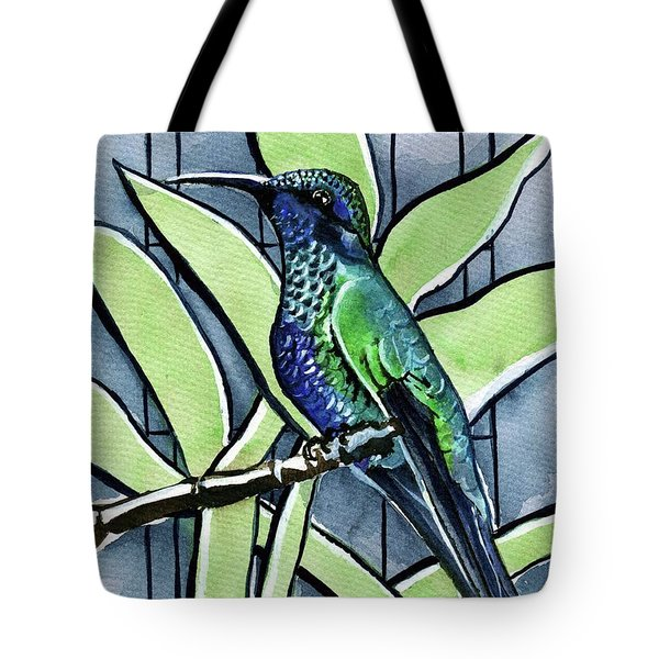 Tote Bag featuring the painting Blue Green Hummingbird by Dora Hathazi Mendes