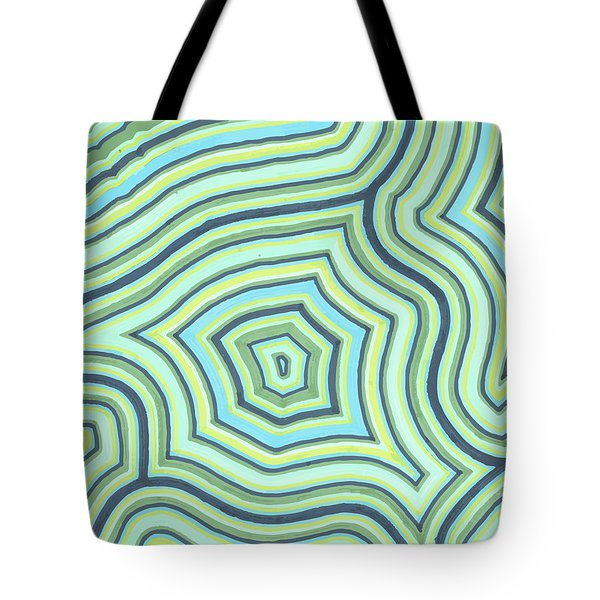 Tote Bag featuring the drawing Blue Green Pattern Play by Jill Lenzmeier