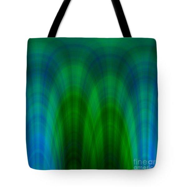 Blue Green Plaid Arches Tote Bag