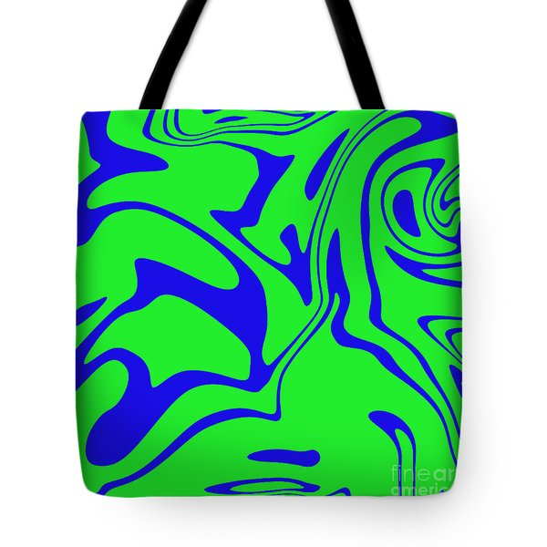 Blue Green Retro Abstract Tote Bag