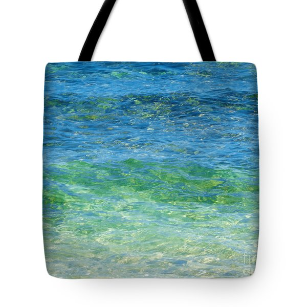 Blue Green Waves Tote Bag