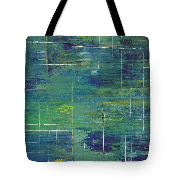 Blue Green Yellow Abstract  Tote Bag by Patricia Cleasby