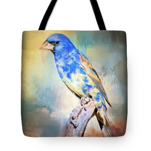 Tote Bag featuring the photograph Blue Grosbeak by Barbara Manis