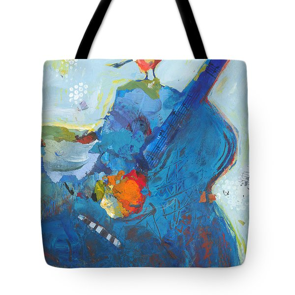 Tote Bag featuring the painting Blue Guitar With Bird by Shelli Walters