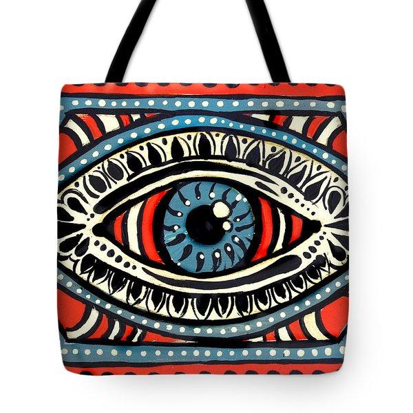 Tote Bag featuring the painting Blue Gypsi Eye by Nada Meeks