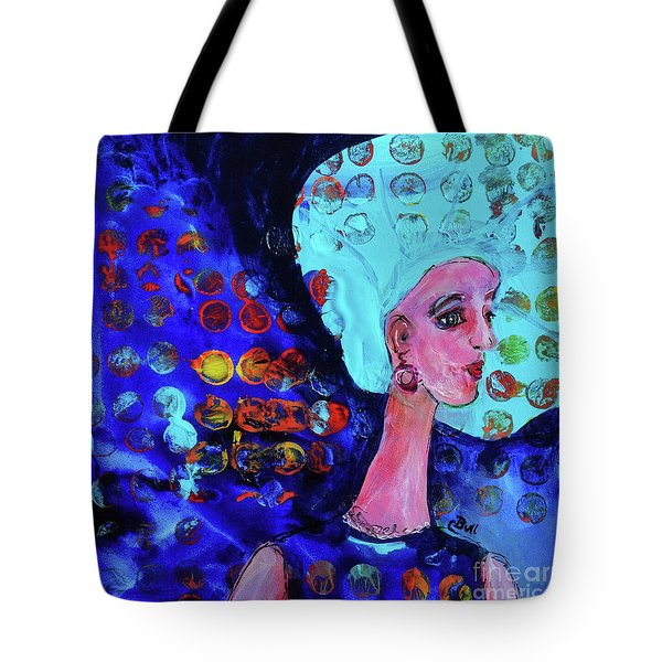 Blue Haired Girl On Windy Day Tote Bag