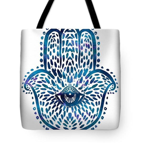 Blue Hamsa Hand Tote Bag