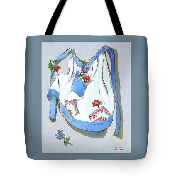 Tote Bag featuring the painting Blue Handkerchief Apron by Susan Thomas