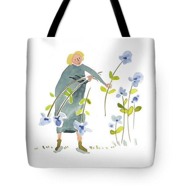 Tote Bag featuring the painting Blue Harvest by Leanne WILKES