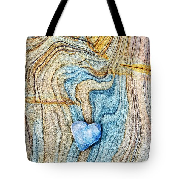 Tote Bag featuring the photograph Blue Heart Stone by Tim Gainey