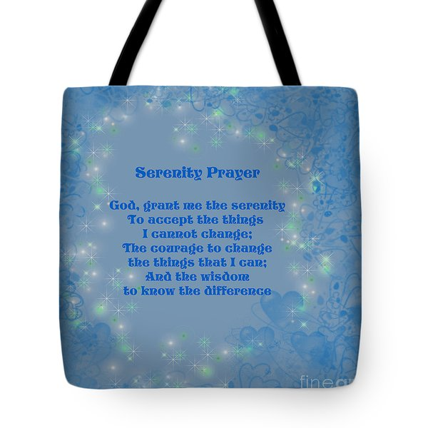 Blue Hearts Serenity Prayer Tote Bag