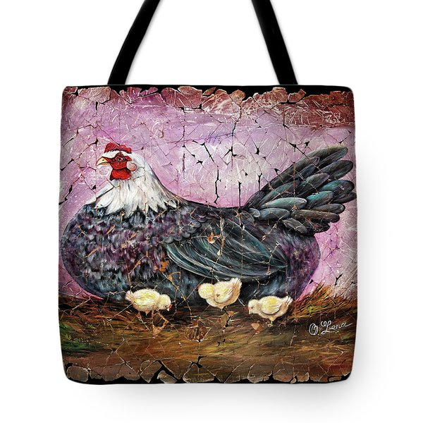 Blue Hen With Chicks Fresco Black Background Tote Bag