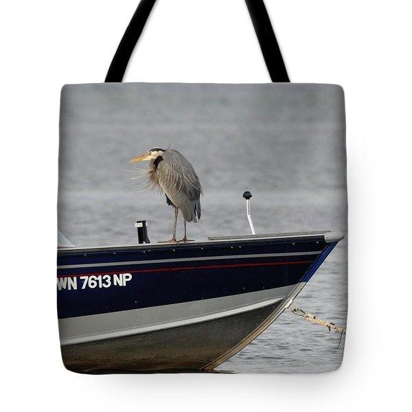 Blue Heron Boat Ride Tote Bag