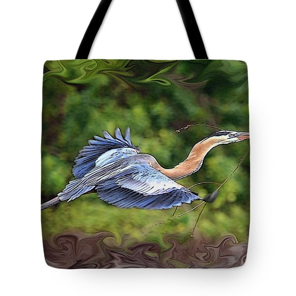 Tote Bag featuring the photograph Blue Heron Flight by Shari Jardina