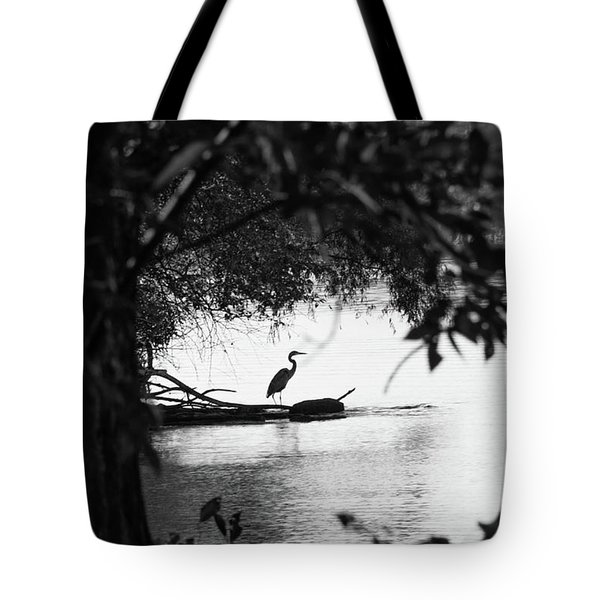 Blue Heron In Black And White. Tote Bag
