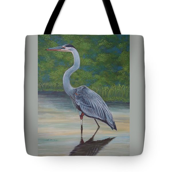 Tote Bag featuring the painting Blue Heron by Jeanette Jarmon