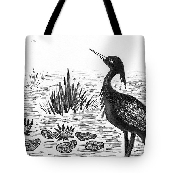 Crowned Night Heron Lily Pond Paradise In Ink D1 Tote Bag
