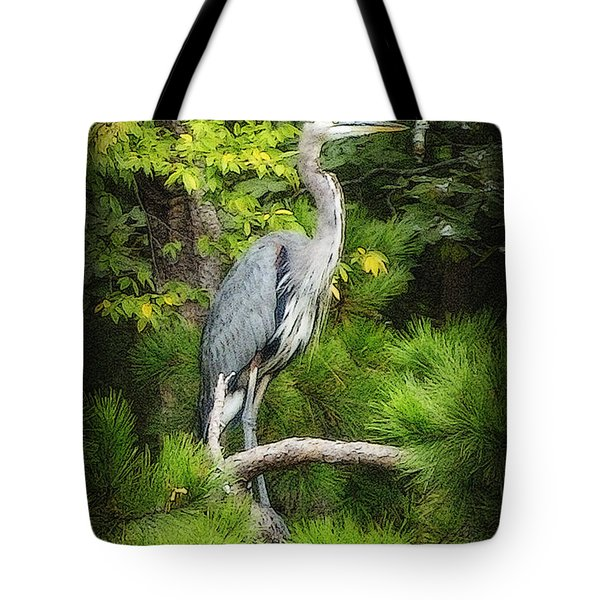 Tote Bag featuring the photograph Blue Heron by Lydia Holly