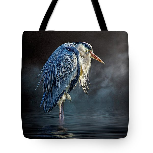 Blue Heron Moon Tote Bag by Brian Tarr