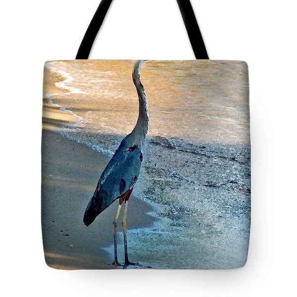 Blue Heron On The Beach Close Up Tote Bag