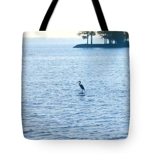 Blue Heron On The Chesapeake Tote Bag by Bill Cannon