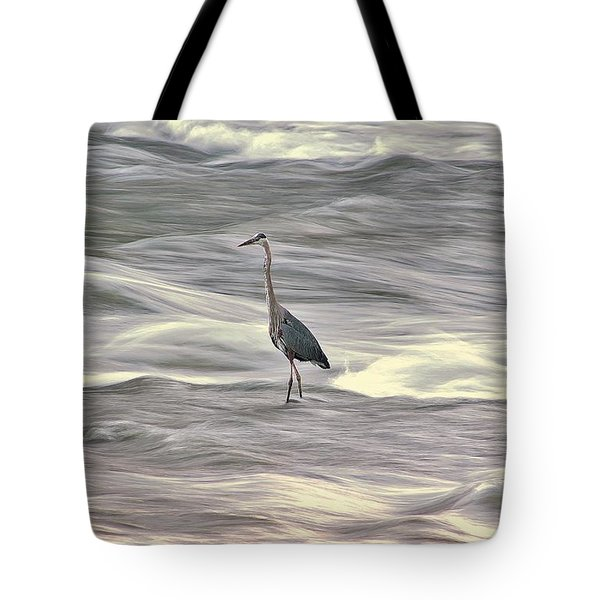 Blue Heron On The Grand River Tote Bag