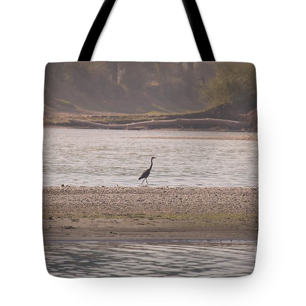 Blue Heron On The Yellowstone Tote Bag