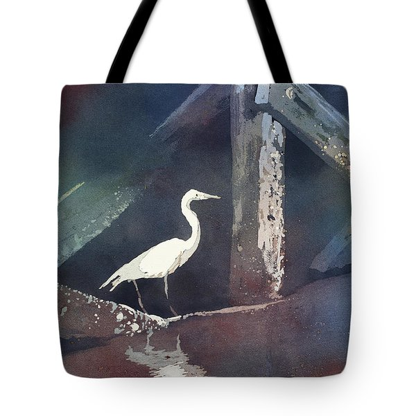 Tote Bag featuring the painting Blue Heron- Outer Banks by Ryan Fox