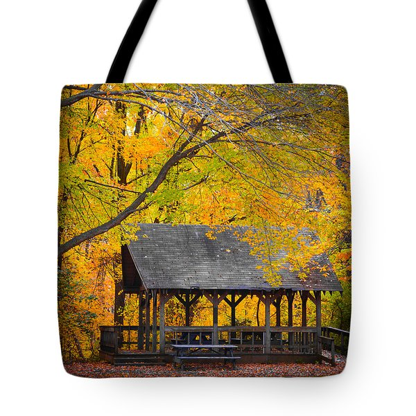 Blue Heron Park In The Fall 2 Tote Bag