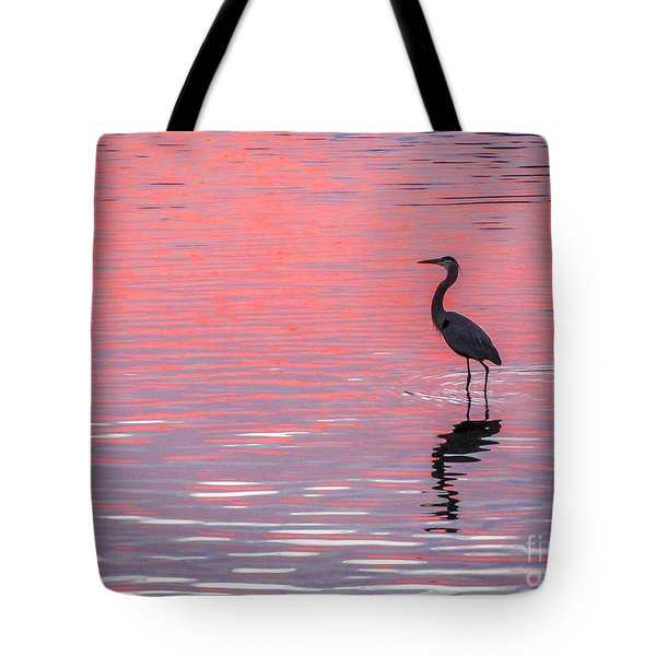 Tote Bag featuring the photograph Blue Heron - Pink Water by Tom Claud