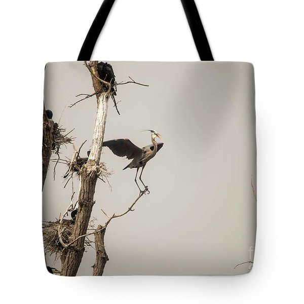 Tote Bag featuring the photograph Blue Heron Posing by David Bearden