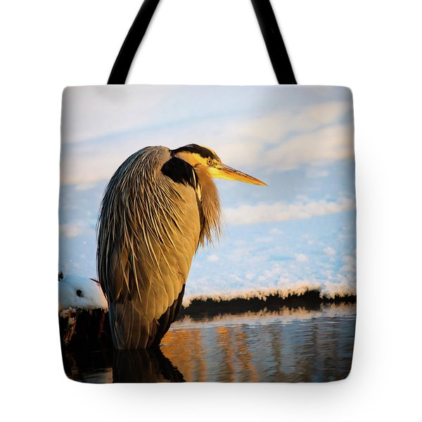 Tote Bag featuring the photograph Blue Heron Resting by Bryan Carter