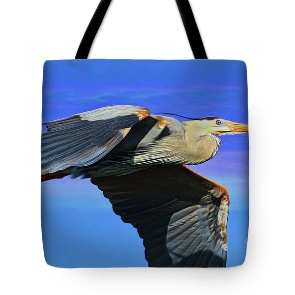 Tote Bag featuring the painting Blue Heron Series Fly by Deborah Benoit