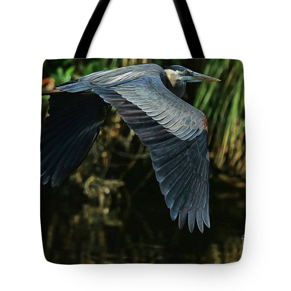 Tote Bag featuring the photograph Blue Heron Series The Pond by Deborah Benoit