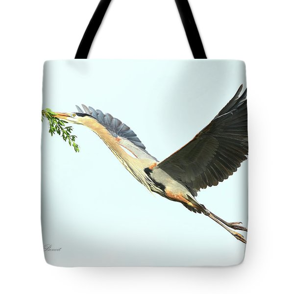 Tote Bag featuring the photograph Blue Heron Series Twig 2017 by Deborah Benoit