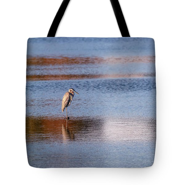 Blue Heron Standing In A Pond At Sunset Tote Bag