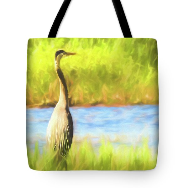 Blue Heron Standing Tall And Alert Tote Bag